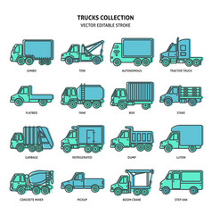 Truck icons set in thin line style vector