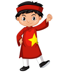 Vietnam boy in red costume vector