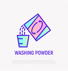 washing powder thin line icon laundry powder pour vector image