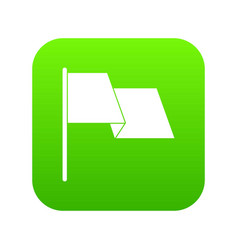 waving flag icon digital green vector image