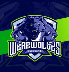 Werewolves mascot esport logo character design vector