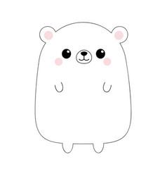 White bear face head body black contour vector