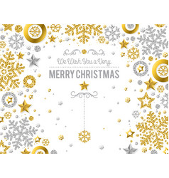 white christmas card with golden and silver vector image