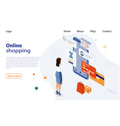 woman shopping from smartphone in online store vector image