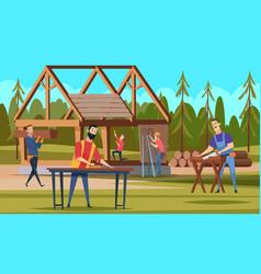 wooden robuilders professional carpenters team vector image