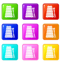 Xylophone and sticks icons 9 set vector
