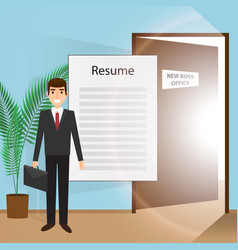 young man goes to an interview vector image