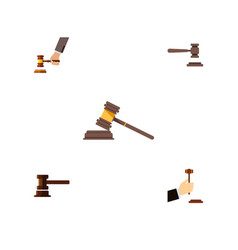 flat icon hammer set of government building court vector image vector image