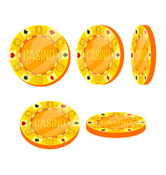 poker chips flat cartoon set casino sign vector image
