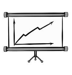 screen arrow graph board icon cartoon vector image