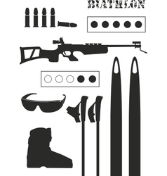 set of biathlon equipment vector image vector image