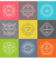 Set of line signs and emblems with hipster symbols vector image