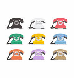 the set of vintage phones on a white background vector image vector image