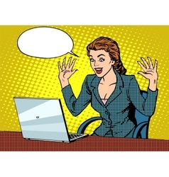 Happy business woman with laptop vector image vector image