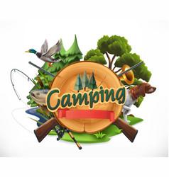 hunting and fishing 3d emblem vector image