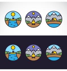 Outdoor Sports Landscape Nature Logo Template Set vector image