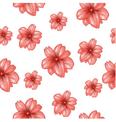 seamless pattern with pink flowers on the white vector image vector image