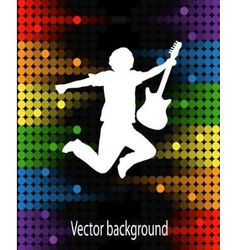 silhouette of a man with guitar vector image