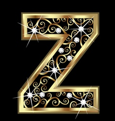 Z gold letter with swirly ornaments vector image vector image