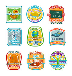 back to school stationery sale offer icons vector image