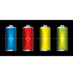 batteries with flash charge icon vector image vector image