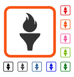 fire torch framed icon vector image