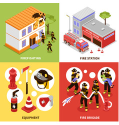 isometric firefighter 2x2 concept vector image