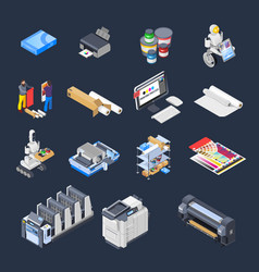 printing isometric icons collection vector image