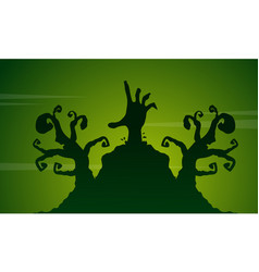 Scary landscape with zombie on halloween vector