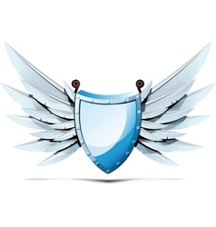 Shield with wings of swords vector image