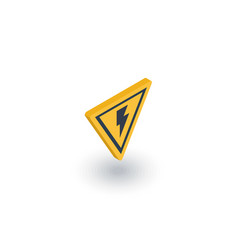 sign of danger high voltage isometric flat icon vector image vector image
