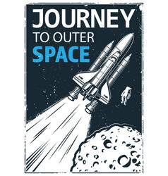 vintage poster with shuttle vector image