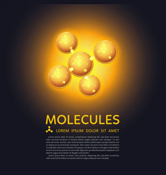 abstract molecules design gold glow particles vector image
