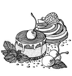 cakes with cherries and strawberries outline vector image vector image