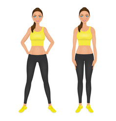 cute smiling fit girl with hands on the hips vector image