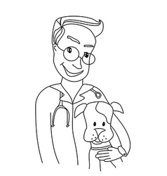 Dog and veterinarian - doodle vector