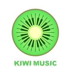 music logo piano as kiwi fruit icon colorful vector image vector image