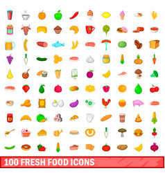 100 fresh food icons set cartoon style vector image