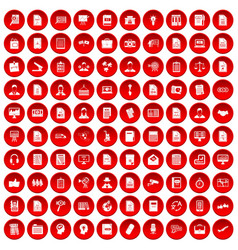 100 work paper icons set red vector