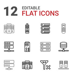 12 remote icons vector image