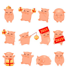 2019 year pig cartoon characters vector image