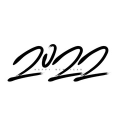 2022 greeting card happy new year black and white vector image