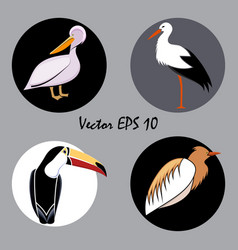 a set of colored abstract birds vector image