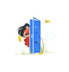 abstract woman opening door vector image