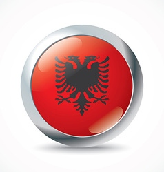 Albania flag button vector image