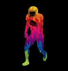 american football player action sport concept vector image
