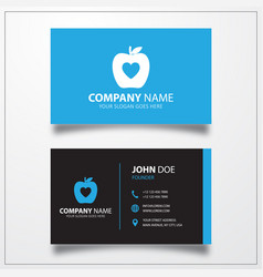 Apple with heart icon business card template vector