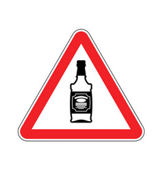 attention alcohol bottle of whiskey on red vector image