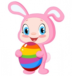 baby with Easter egg vector image