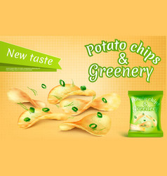 Banner with potato chips and greenery vector